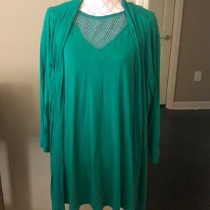 Catherine's Vibrant Green Shell & Cardigan Set EUC